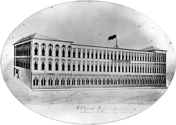 Drawing of Hospital at Mound City during the war