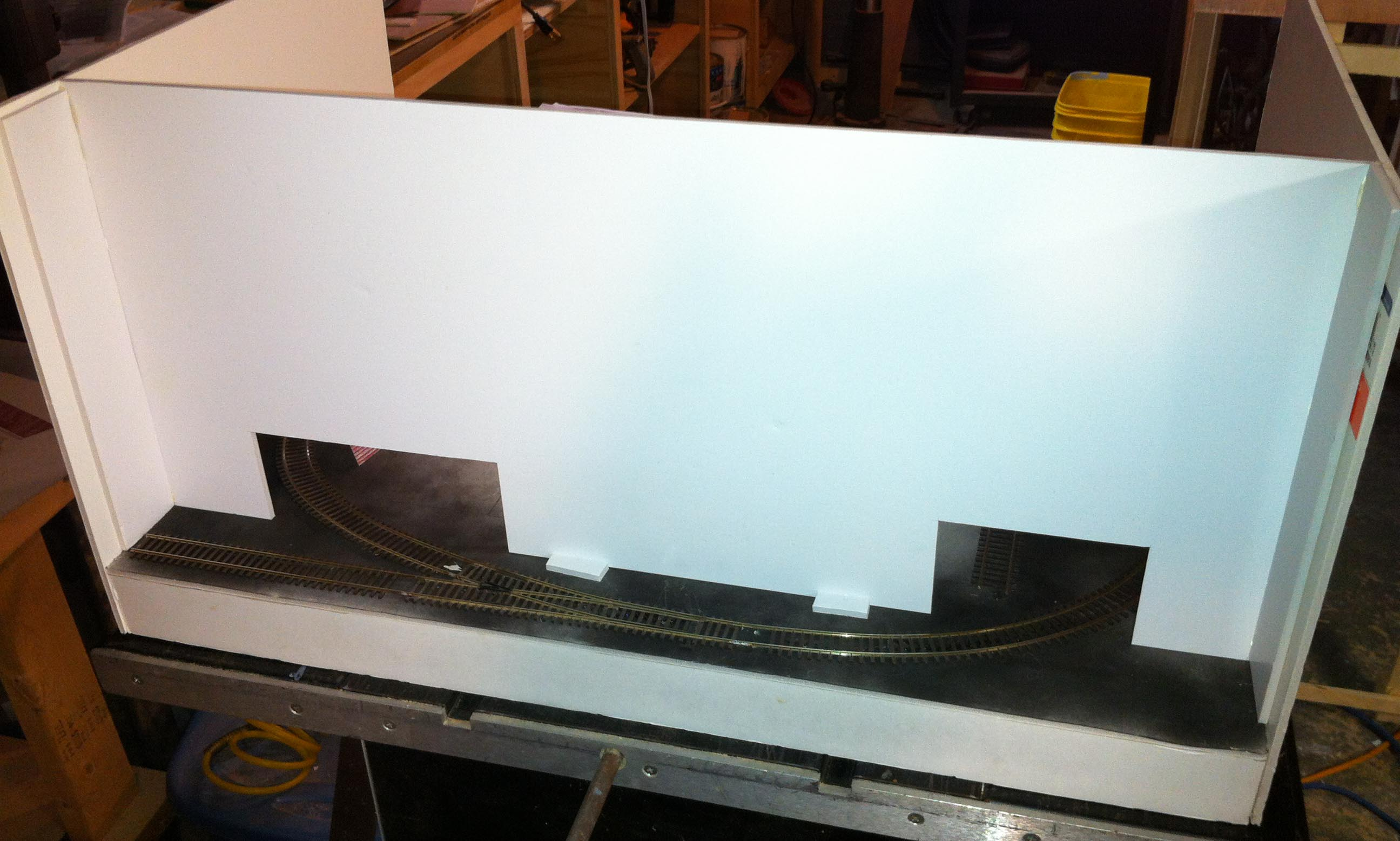 Back board as seen from the rear of the layout