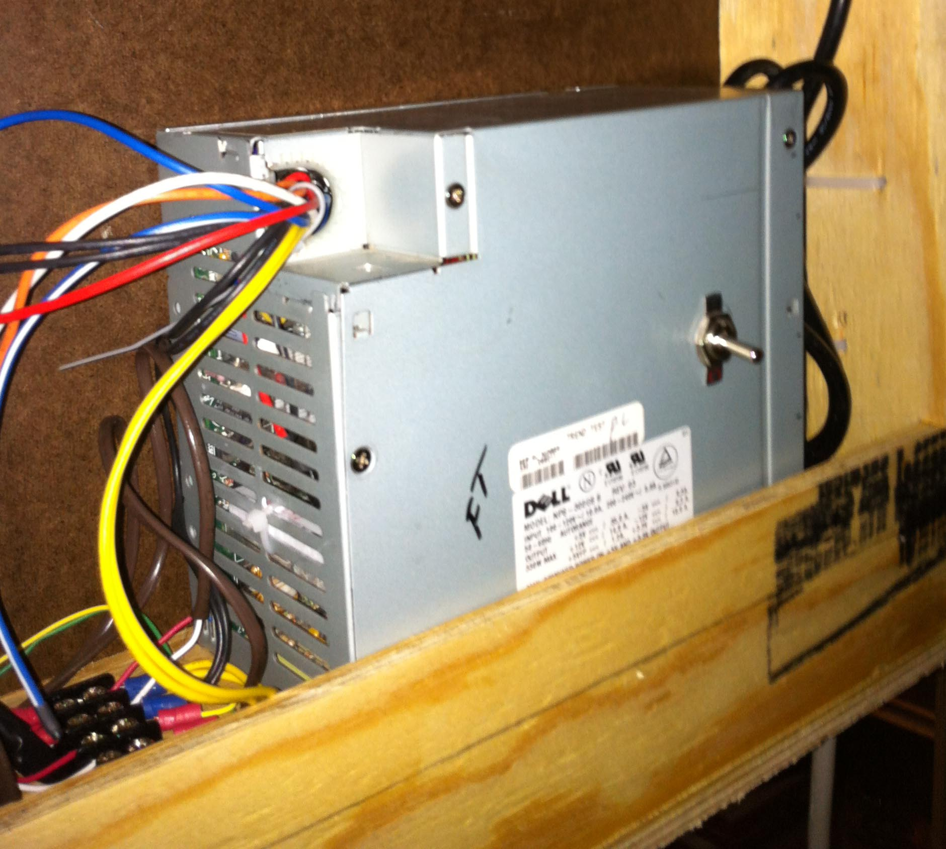 Power supply installed in the back of the layout