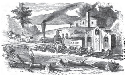 Artist's depiction of an early Erie & Kalamazoo train.