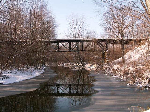 The line crossing the River Raisin
