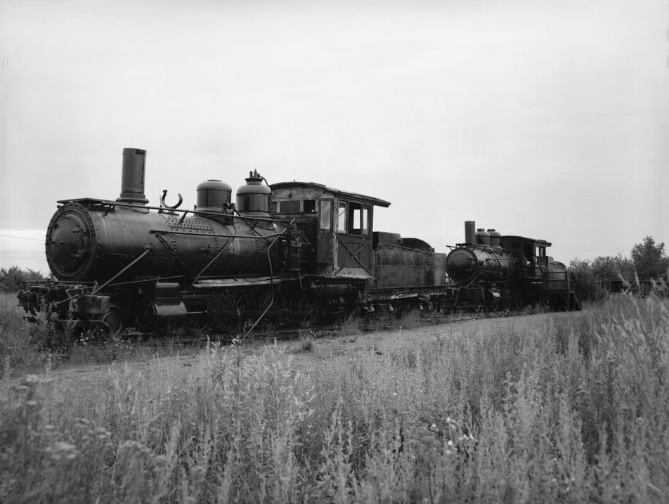 Locomotives on display near hoist house.