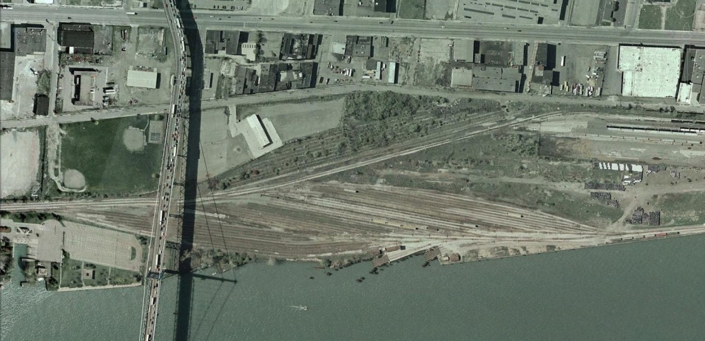 N&W Car Float Yard in 2002. The tracks on the lower left that terminate just beyond the bridge were used for the car float operation.