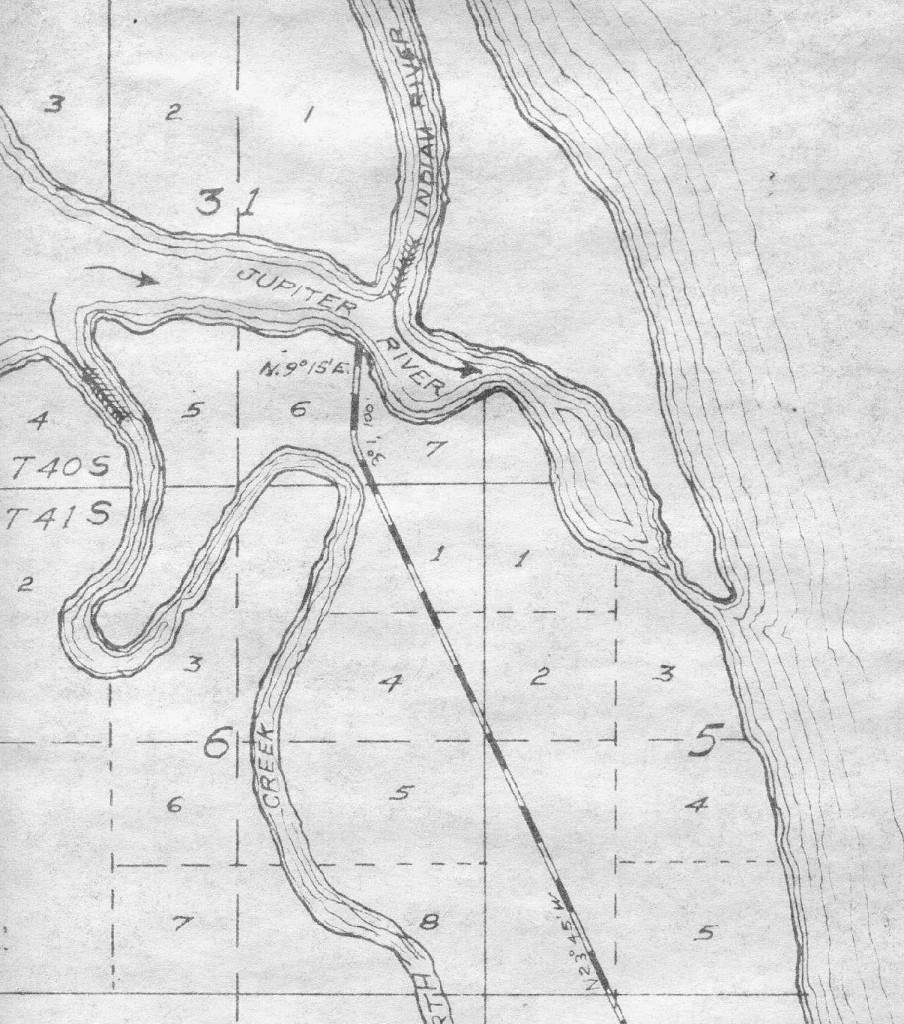Platt of the Jupiter area showing the railroad.