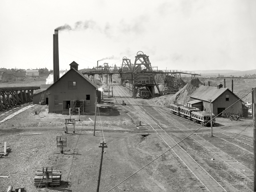 Original from the Library of Congress. High resolution image of an iron ore  mining operation.