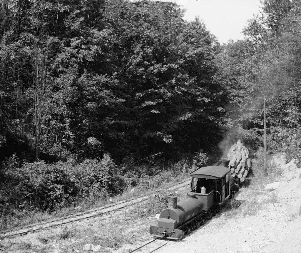 Another of Ephraim Shay's locomotives handles a load of logs for the mill somewhere in the hills above Harbor Springs, MI.
