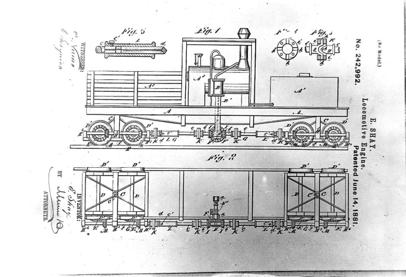 Original drawing for patent by Ephraim Shay.