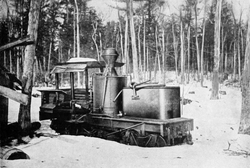 The M. J. Bond one of the earliest geared locomotives built by Ephraim Shay for logging in Michigan