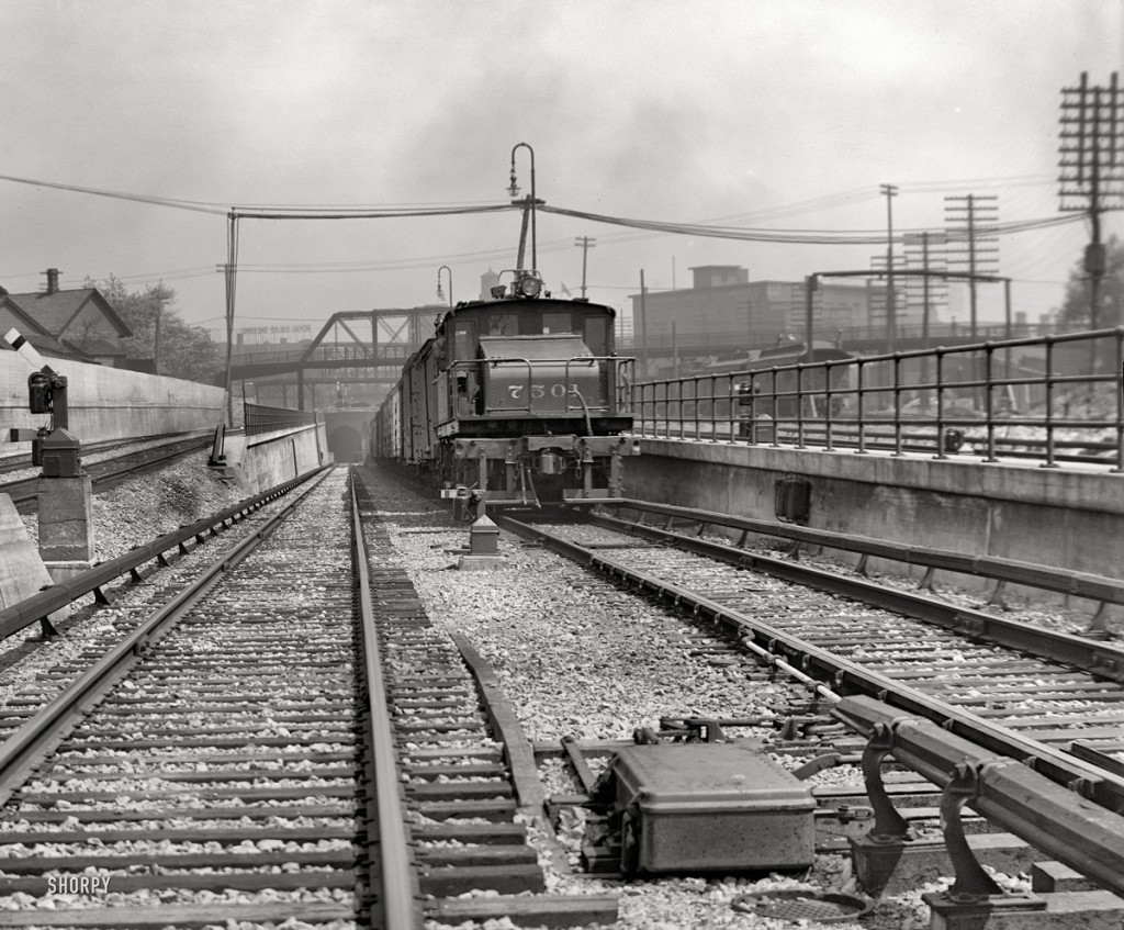 Detroit River tunnel entrance was near the Michigan Central Depot and used electric locomotives until the diesels came.