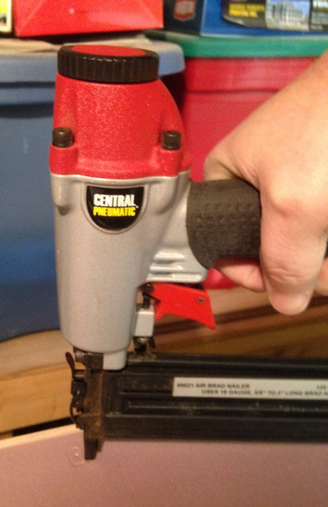 Inexpensive Brad Nailer was used to secure the top to the stringers.