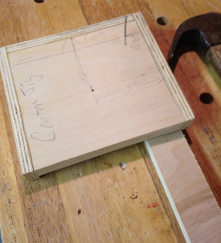 The jig has a second hole to mark all legs and stringers for bolts to hold the legs.