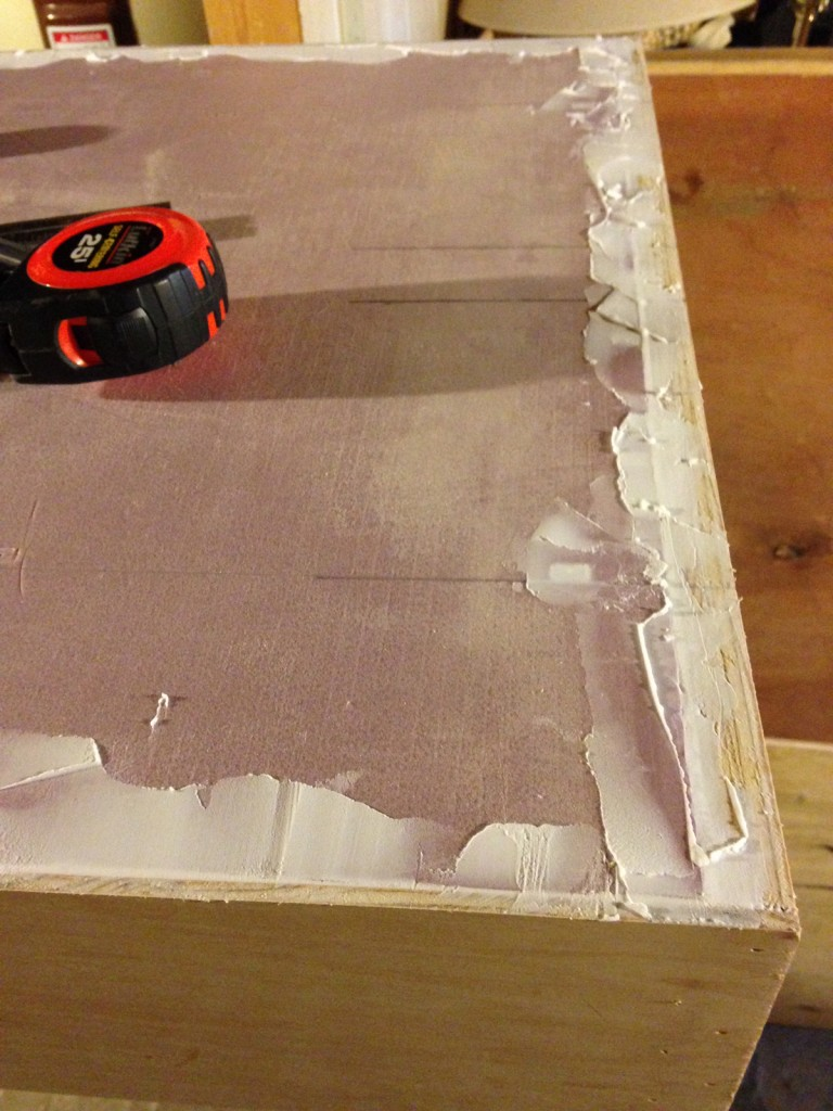 Light Weight Vinyl spackle to fill voids at the edges.