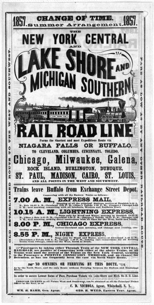 1857 LS&MS Advertisement for Buffalo to Chicago
