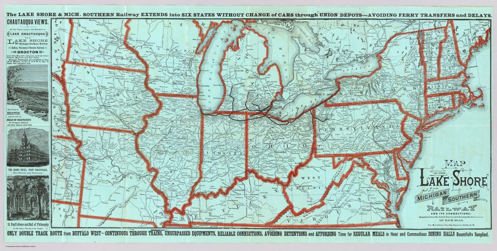1881 Route Map Showing shorter route through Ohio and Indiana